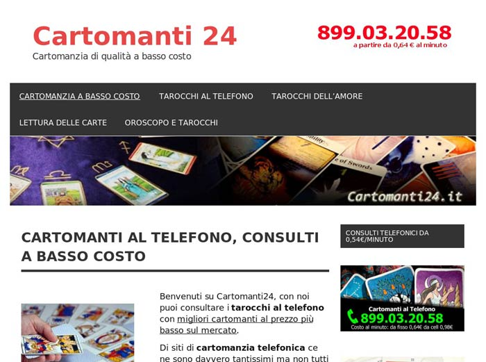 screen shot sito web